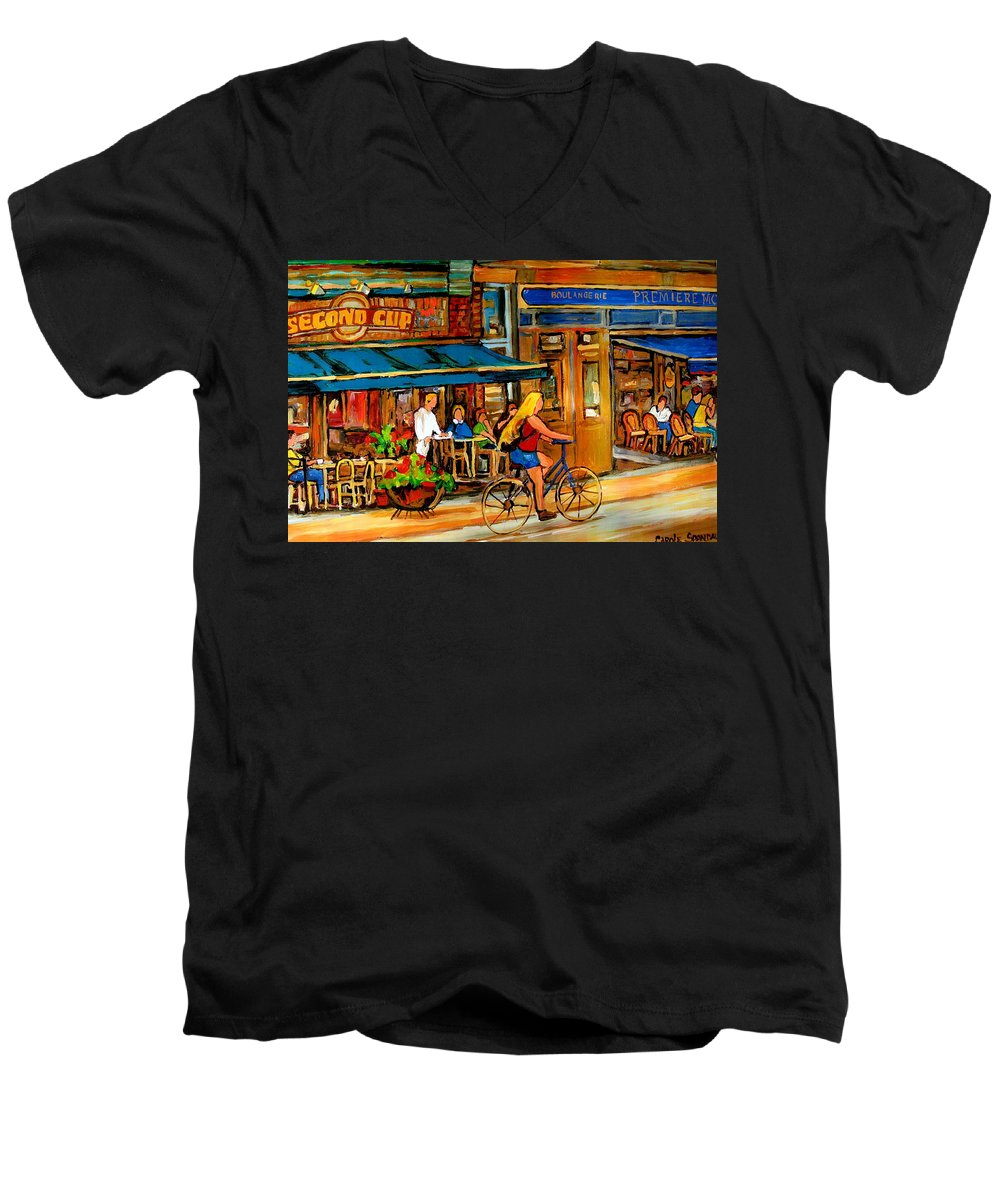 Cafes Men's V-Neck T-Shirt featuring the painting Cafes With Blue Awnings by Carole Spandau
