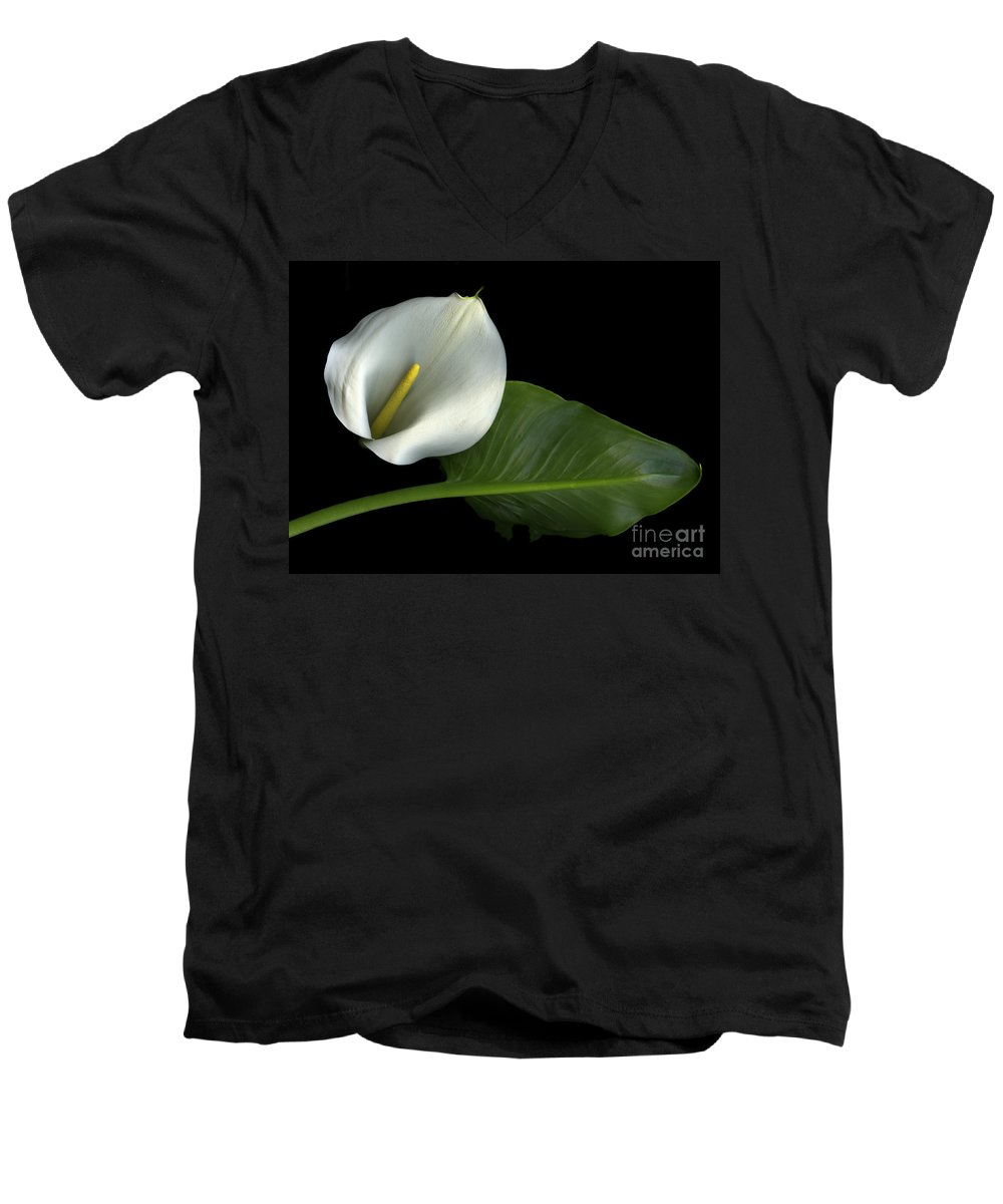 Scanography Men's V-Neck T-Shirt featuring the photograph Calla Lily by Christian Slanec