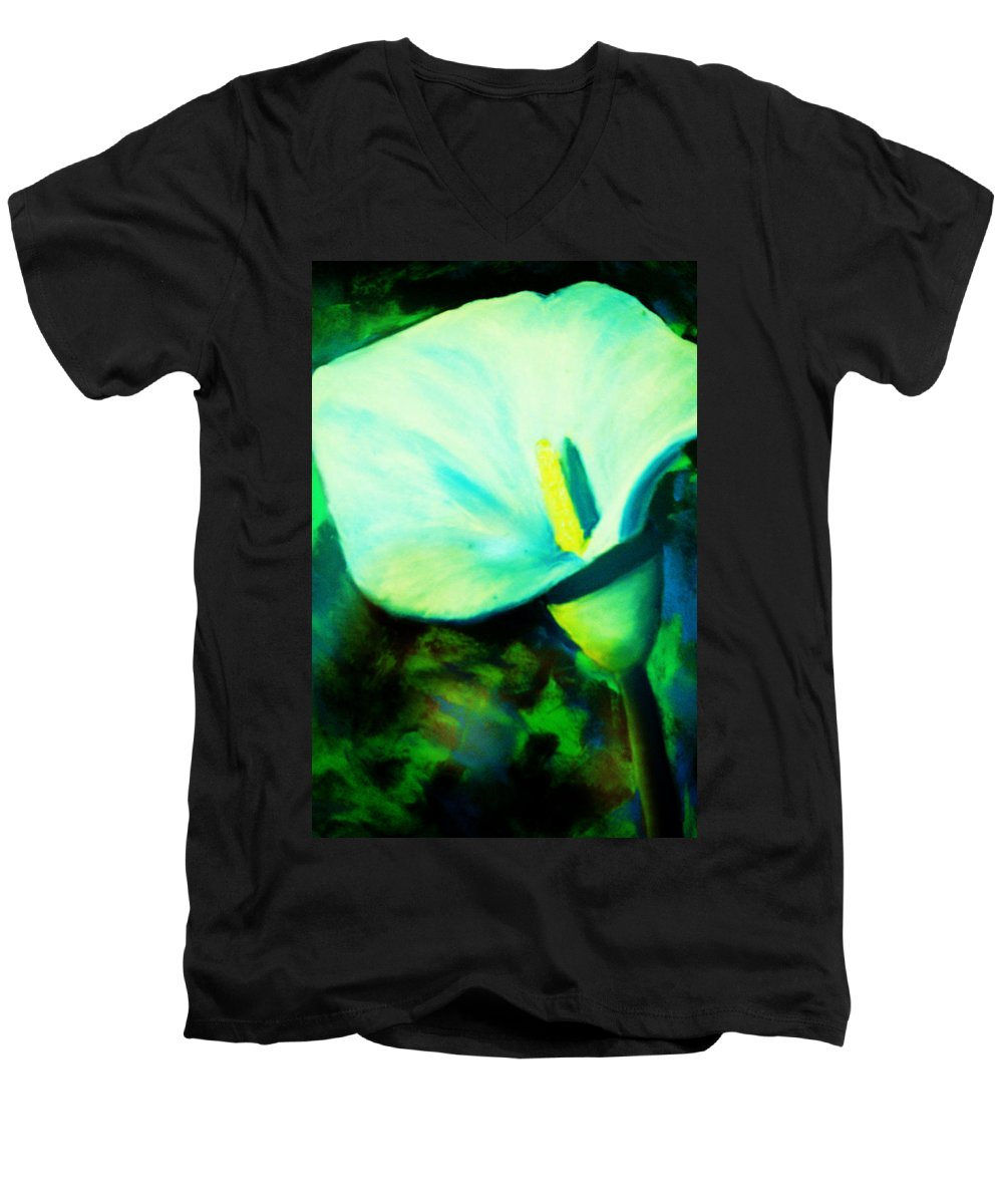 White Calla Lily Men's V-Neck T-Shirt featuring the painting Calla Lily by Melinda Etzold
