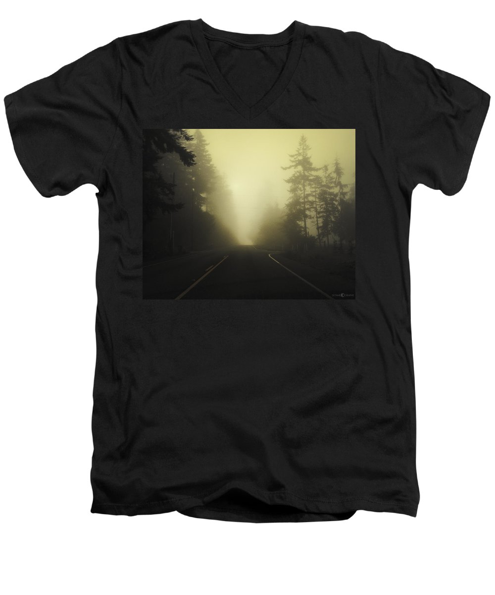 Fog Men's V-Neck T-Shirt featuring the photograph Camano Island Fog by Tim Nyberg