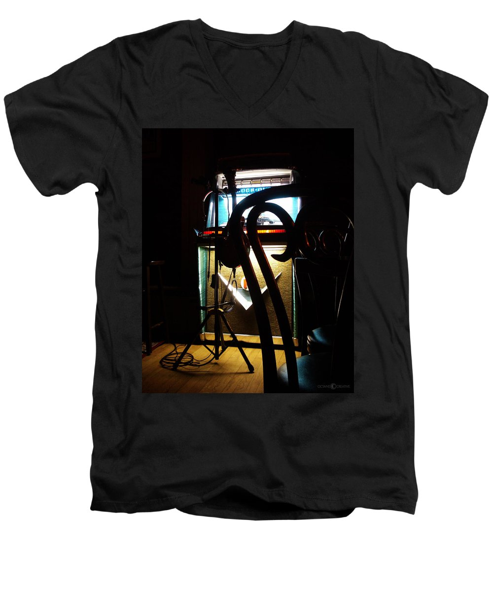 Music Men's V-Neck T-Shirt featuring the photograph Canned Music by Tim Nyberg
