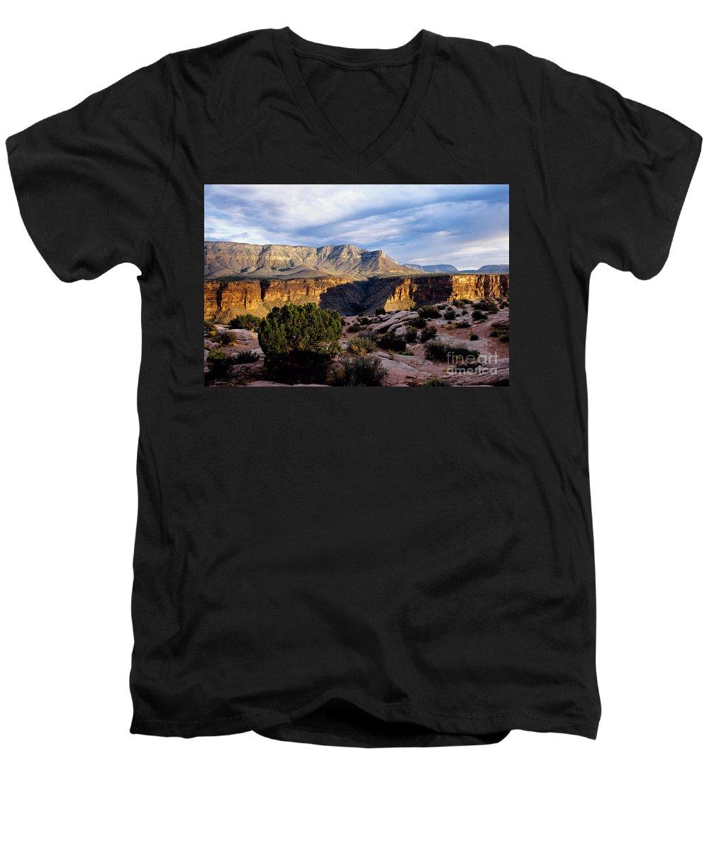 Toroweap Men's V-Neck T-Shirt featuring the photograph Canyon Walls At Toroweap by Kathy McClure