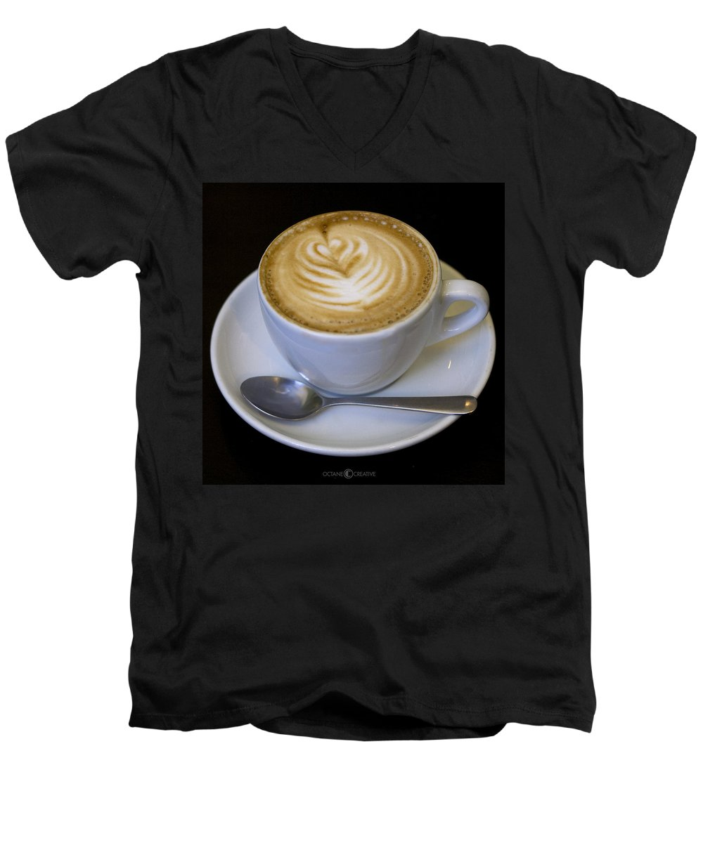 Coffee Men's V-Neck T-Shirt featuring the photograph Cappuccino by Tim Nyberg