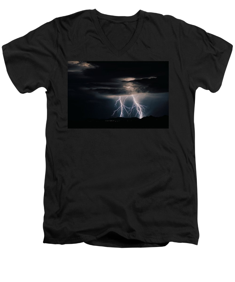 Arizona Men's V-Neck T-Shirt featuring the photograph Carefree Lightning by Cathy Franklin