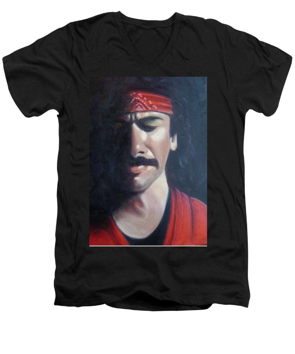 Santana Men's V-Neck T-Shirt featuring the painting Carlos Santana by Toni Berry