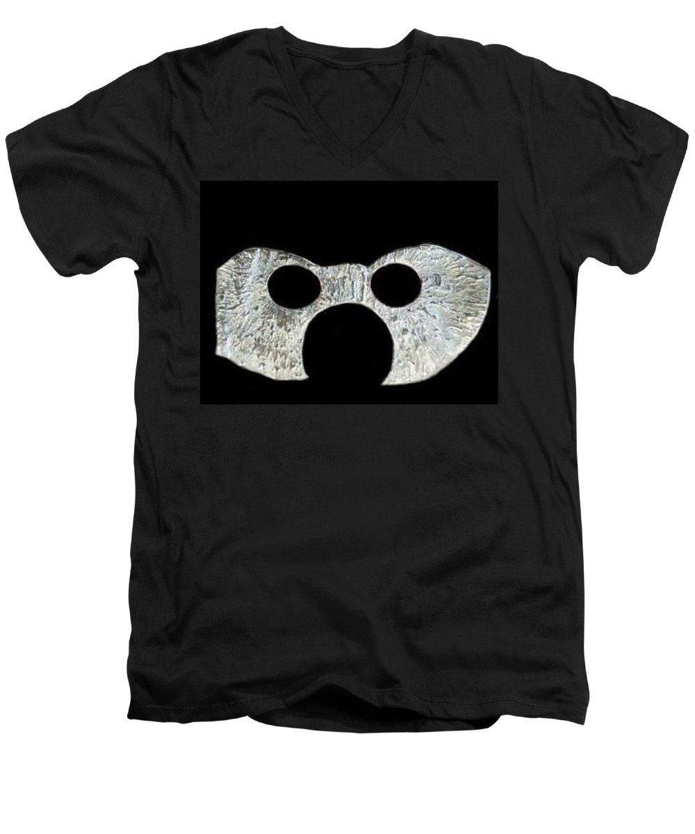 A Wearable Mardi Gras Carnival Or Costume Mask With A Leather Covered Holding Stick Men's V-Neck T-Shirt featuring the sculpture Carnival Series by Robert aka Bobby Ray Howle