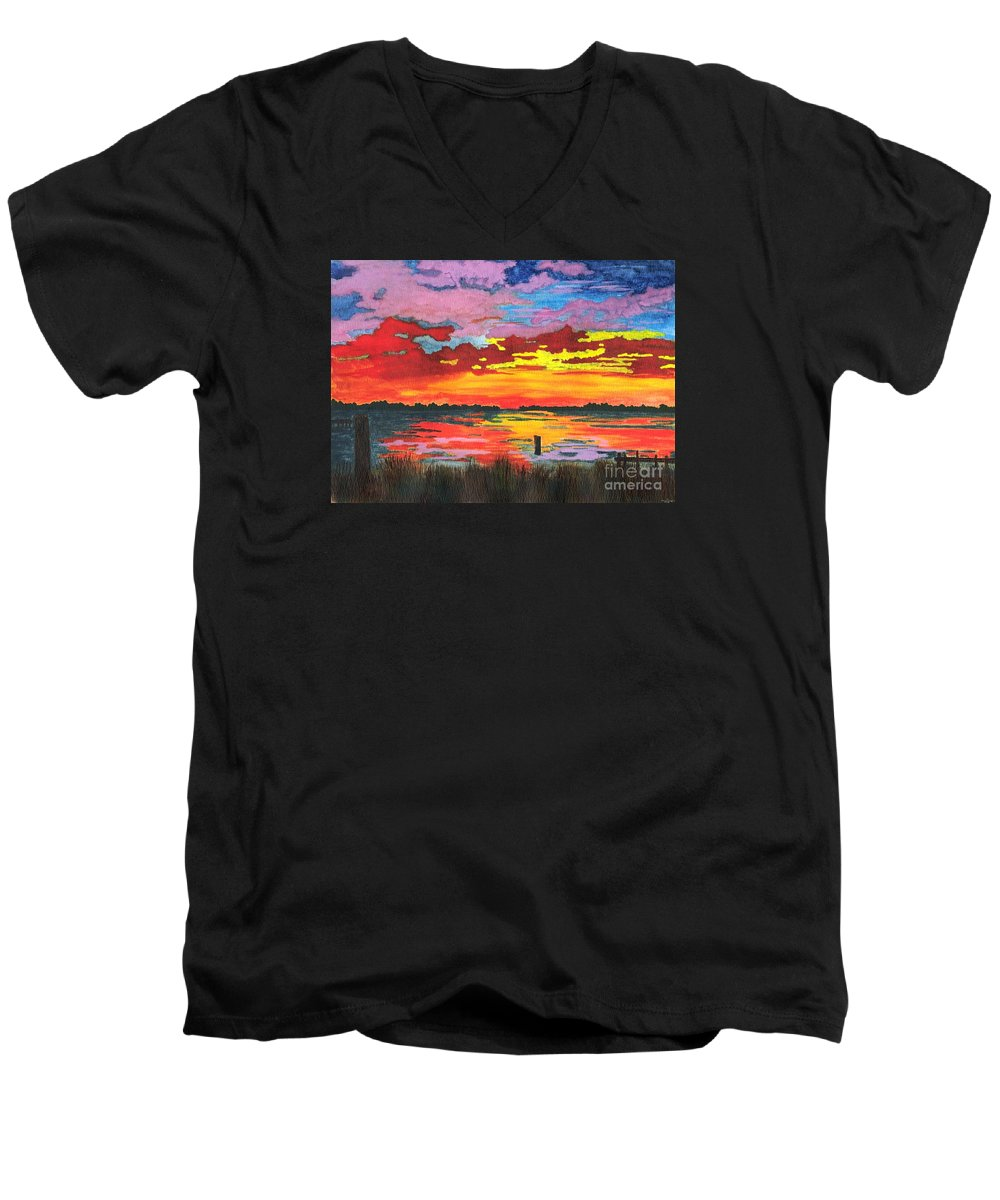 Original Painting Men's V-Neck T-Shirt featuring the painting Carolina Sunset by Patricia Griffin Brett