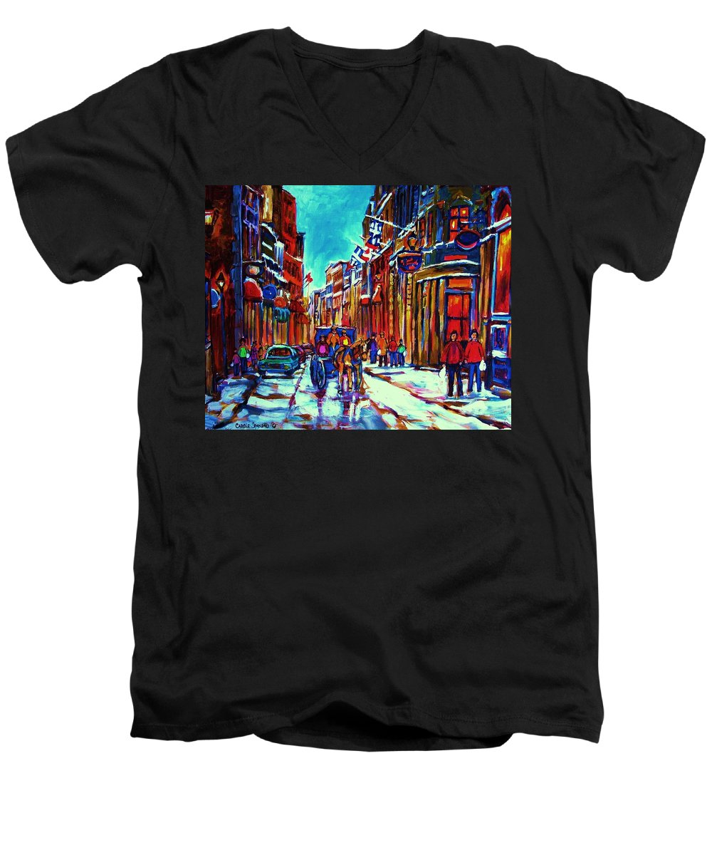 Old Montreal Men's V-Neck T-Shirt featuring the painting Carriage Ride Through The Old City by Carole Spandau