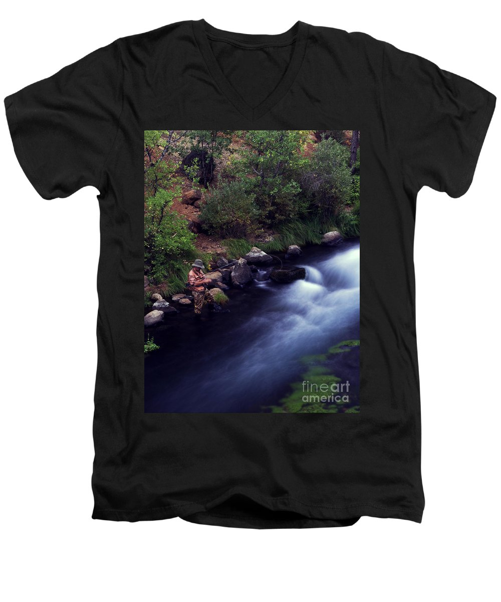Fishing Men's V-Neck T-Shirt featuring the photograph Casting Softly by Peter Piatt