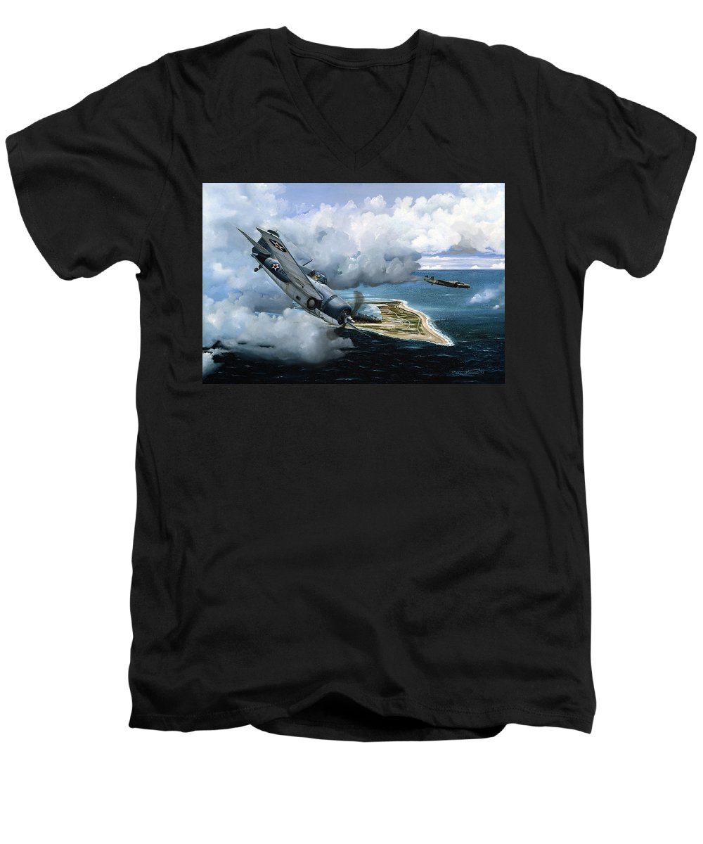 Military Men's V-Neck T-Shirt featuring the painting Cat And Mouse Over Wake by Marc Stewart