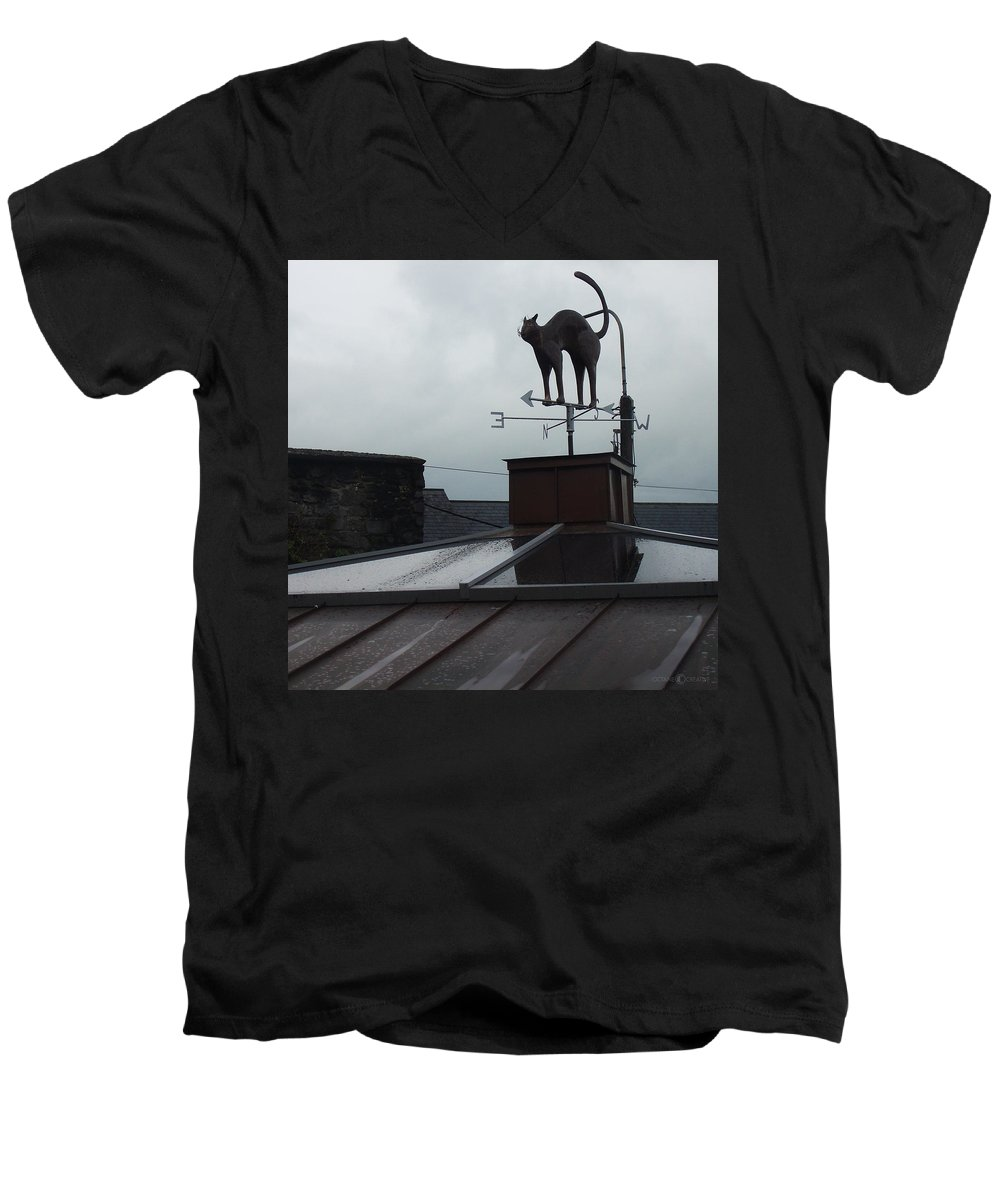 Cat Men's V-Neck T-Shirt featuring the photograph Cat On A Cool Tin Roof by Tim Nyberg