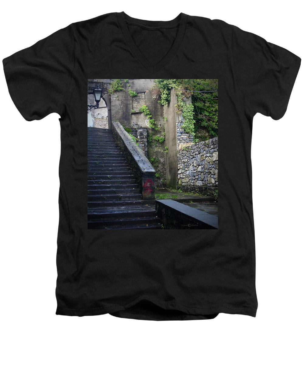 Stairs Men's V-Neck T-Shirt featuring the photograph Cathedral Stairs by Tim Nyberg
