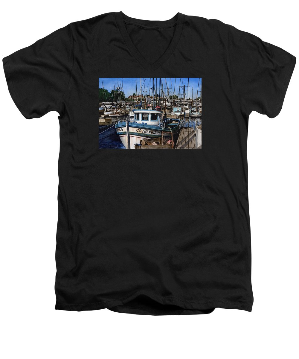 Transportation Men's V-Neck T-Shirt featuring the painting Catherina G by James Robertson