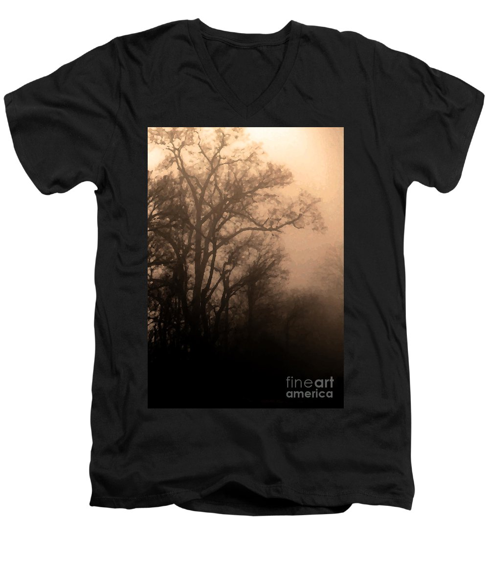 Soft Men's V-Neck T-Shirt featuring the photograph Caught Between Light And Dark by Amanda Barcon