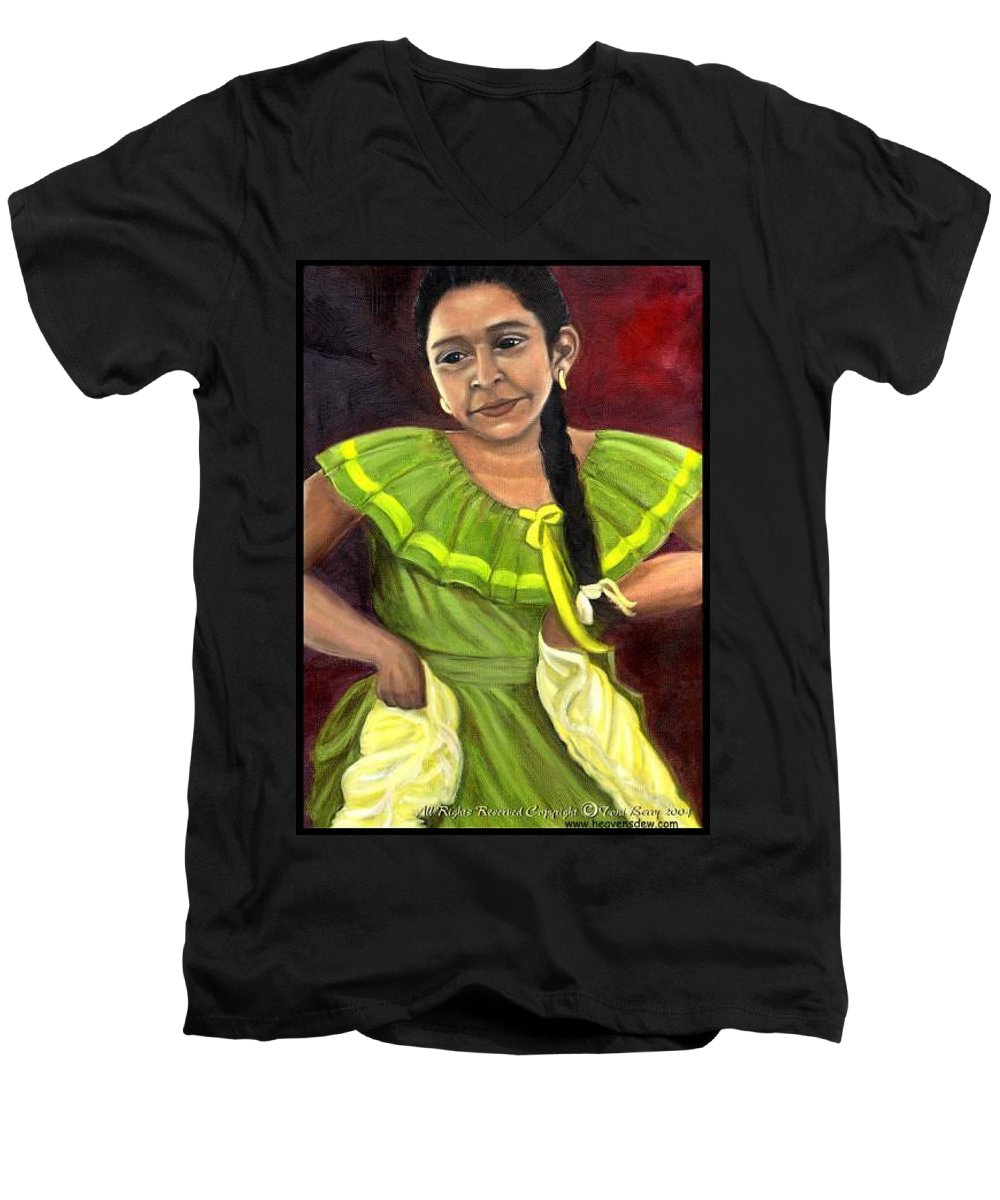 Men's V-Neck T-Shirt featuring the painting Cecelia by Toni Berry