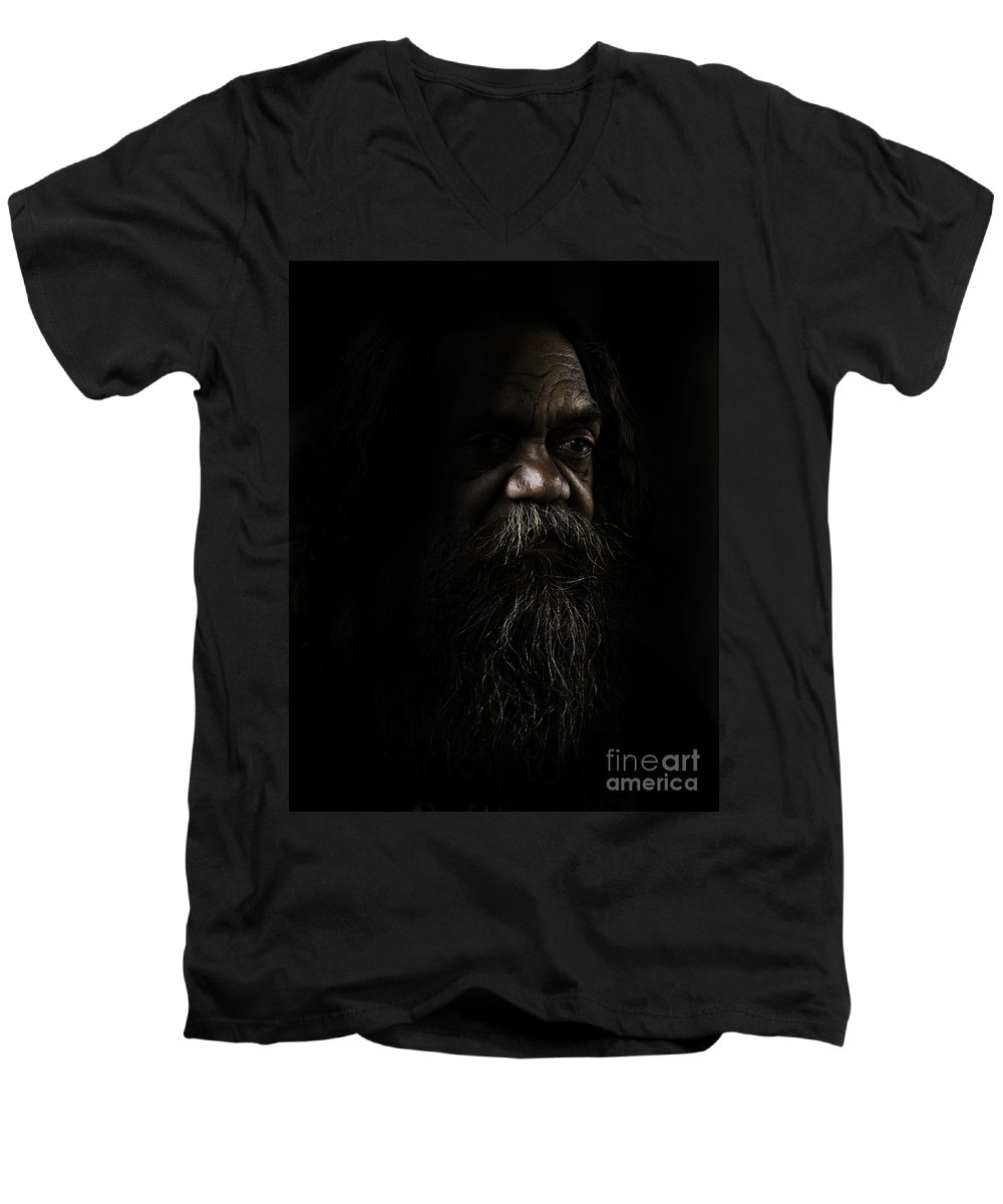 Fullblood Aborigine Men's V-Neck T-Shirt featuring the photograph Cedric In Shadows by Sheila Smart Fine Art Photography