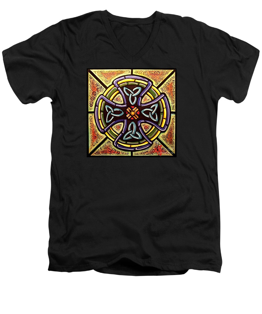 Celtic Men's V-Neck T-Shirt featuring the painting Celtic Cross 2 by Jim Harris