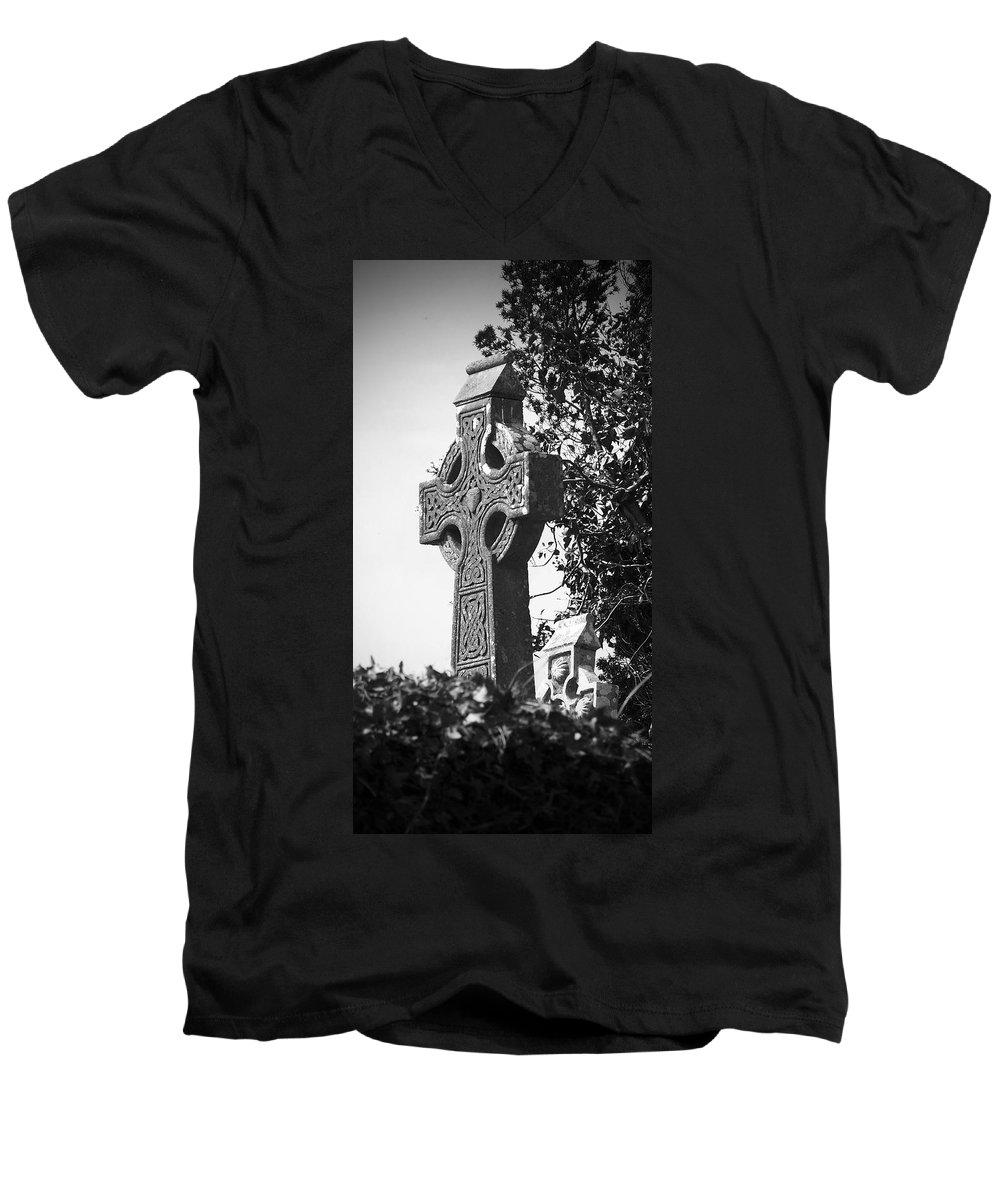 Celtic Men's V-Neck T-Shirt featuring the photograph Celtic Cross At Fuerty Cemetery Roscommon Ireland by Teresa Mucha