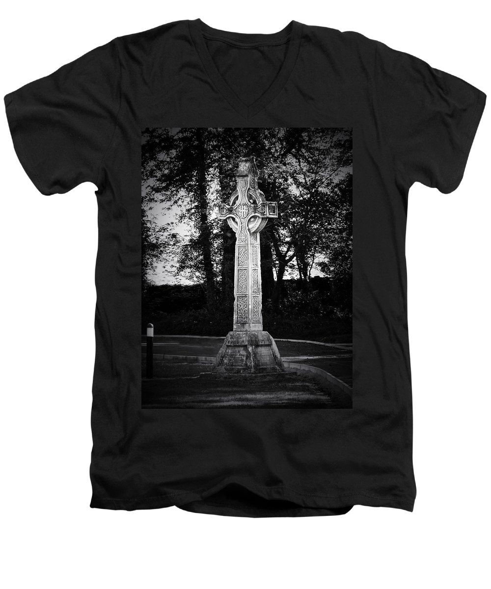 Irish Men's V-Neck T-Shirt featuring the photograph Celtic Cross In Killarney Ireland by Teresa Mucha