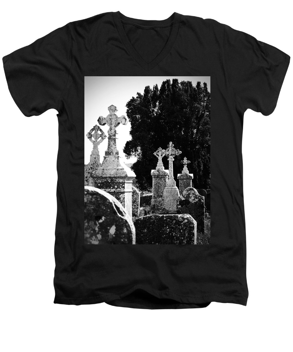 Celtic Men's V-Neck T-Shirt featuring the photograph Celtic Crosses At Fuerty Cemetery Roscommon Ireland by Teresa Mucha