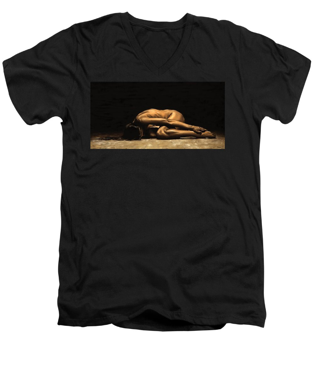 Nude Men's V-Neck T-Shirt featuring the painting Chastity by Richard Young