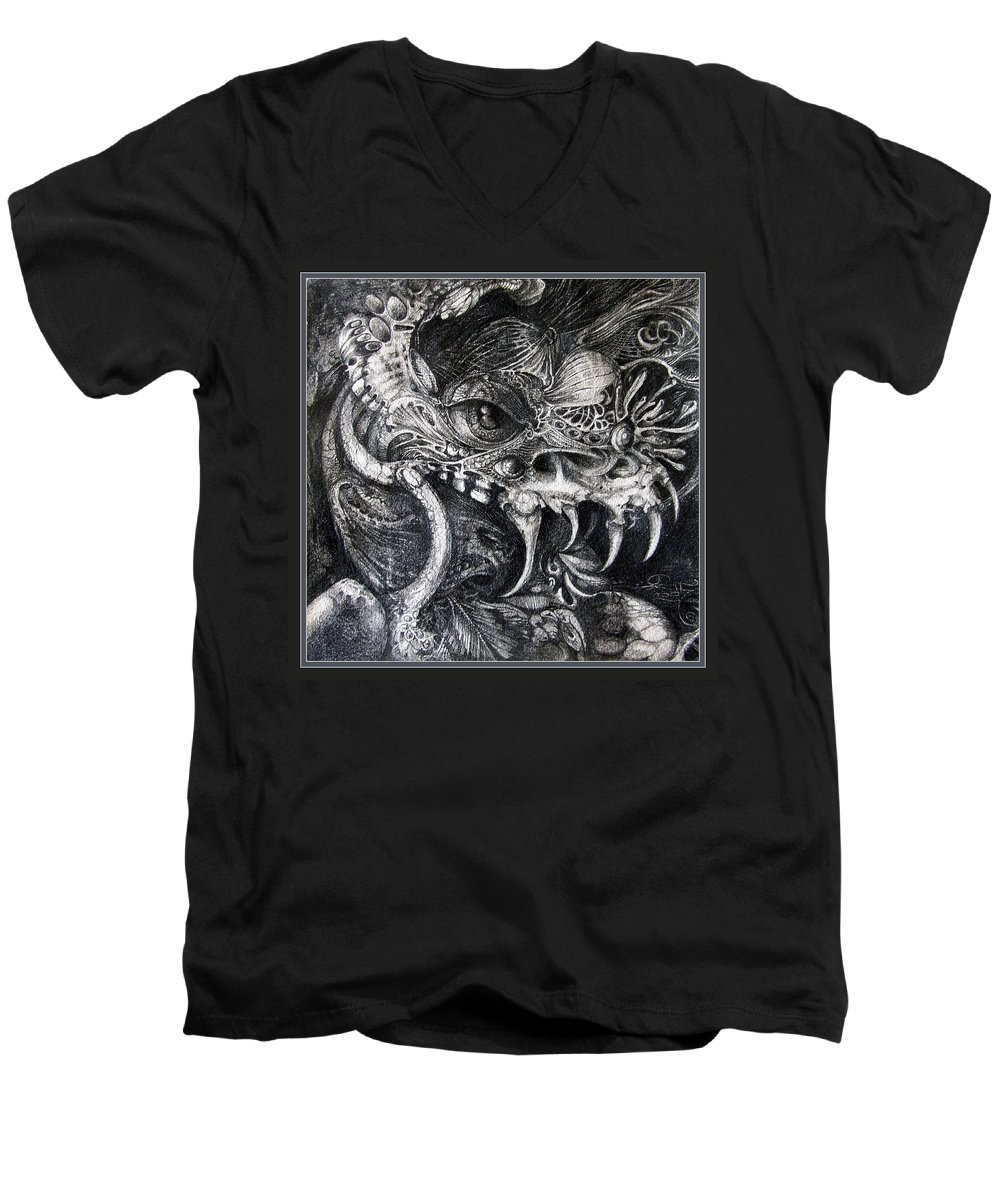 Men's V-Neck T-Shirt featuring the drawing Cherubim Of Beasties by Otto Rapp