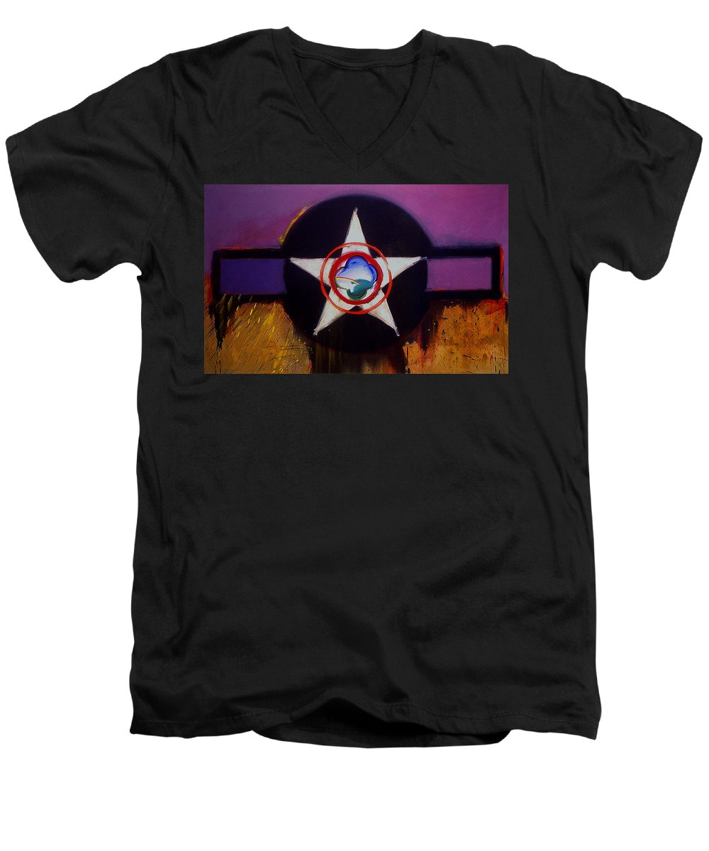 Air Force Insignia Men's V-Neck T-Shirt featuring the painting Cheyenne Autumn by Charles Stuart