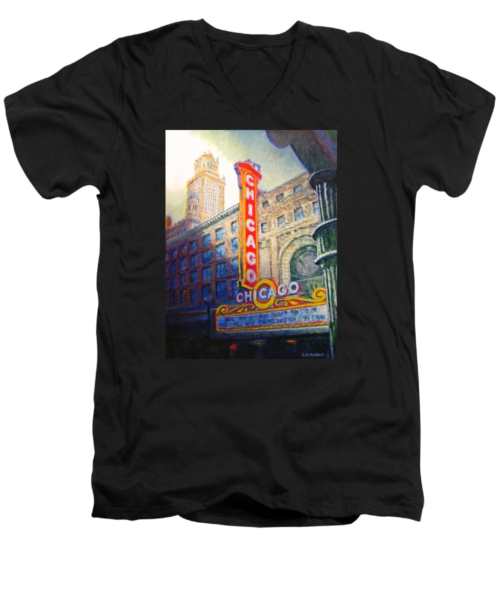 Chicago Men's V-Neck T-Shirt featuring the painting Chicago Theater by Michael Durst