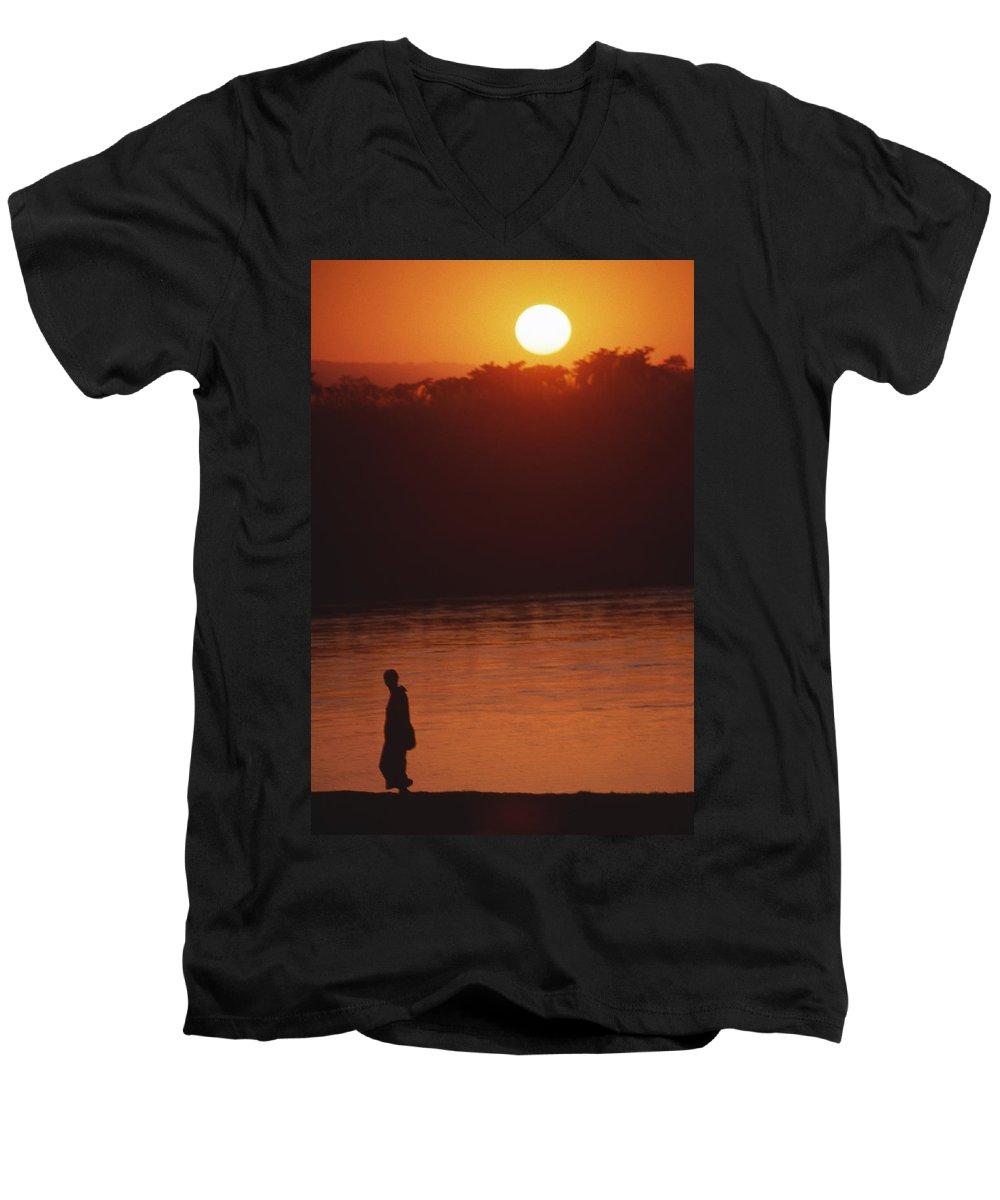 Sunset Men's V-Neck T-Shirt featuring the photograph Chitwan Sunset by Patrick Klauss