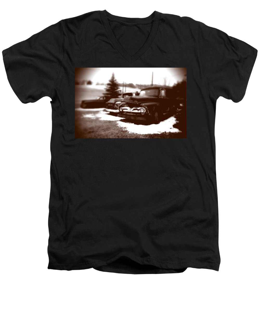 Old Cars Men's V-Neck T-Shirt featuring the photograph Chocolate Ghosts by Jean Macaluso