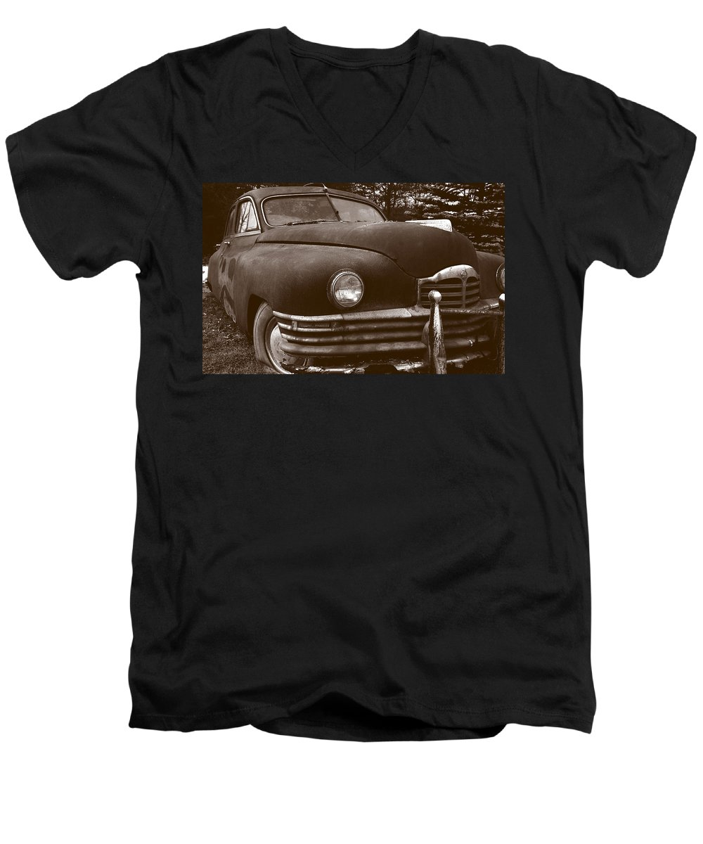 Old Car Men's V-Neck T-Shirt featuring the photograph Chocolate Moose by Jean Macaluso