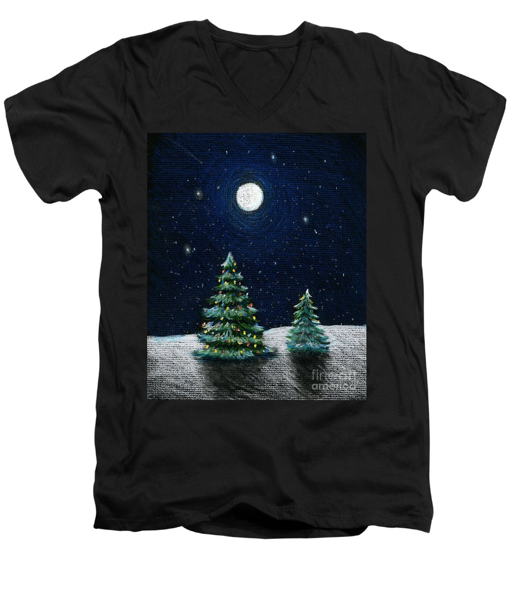Christmas Trees Men's V-Neck T-Shirt featuring the drawing Christmas Trees In The Moonlight by Nancy Mueller