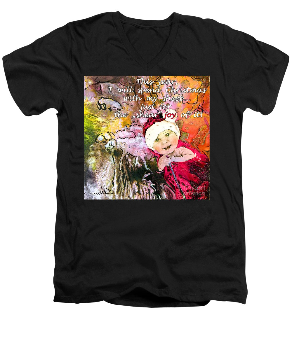 Acrylics Men's V-Neck T-Shirt featuring the painting Christmas With My Sheep by Miki De Goodaboom