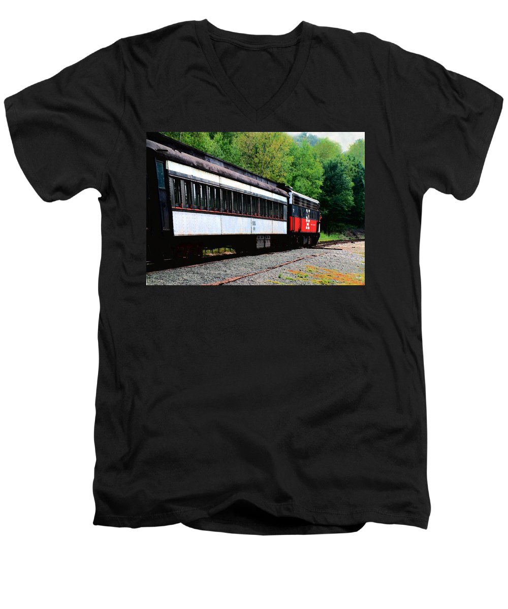 Train Men's V-Neck T-Shirt featuring the photograph Chugging Along by RC DeWinter