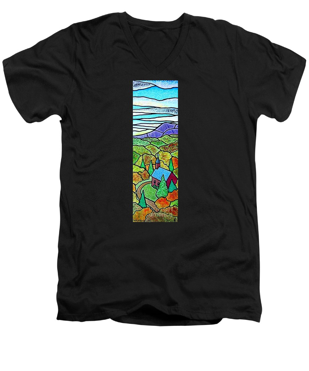 Church Men's V-Neck T-Shirt featuring the painting Church In The Wildwood by Jim Harris