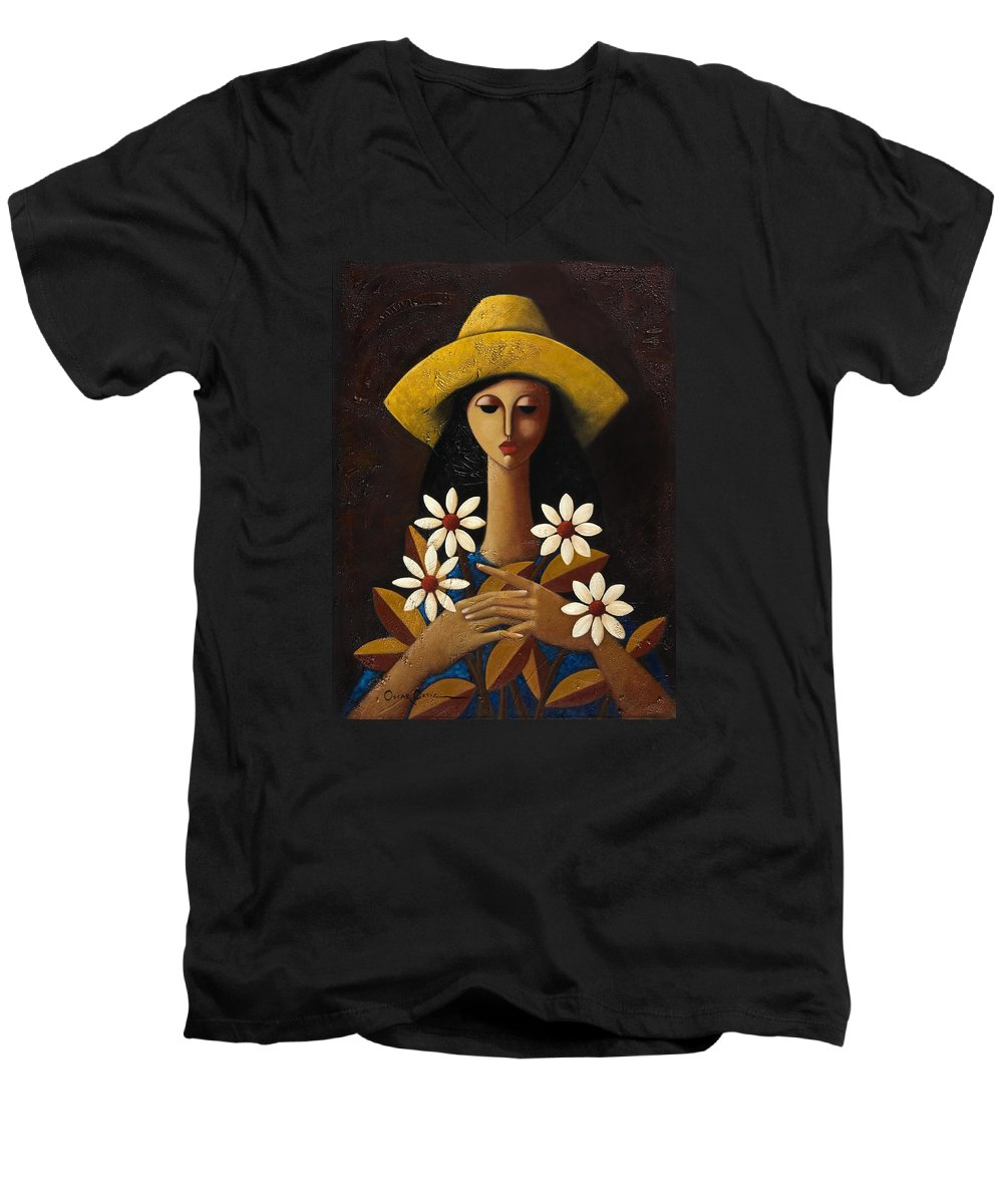 Puerto Rico Men's V-Neck T-Shirt featuring the painting Cinco Margaritas by Oscar Ortiz