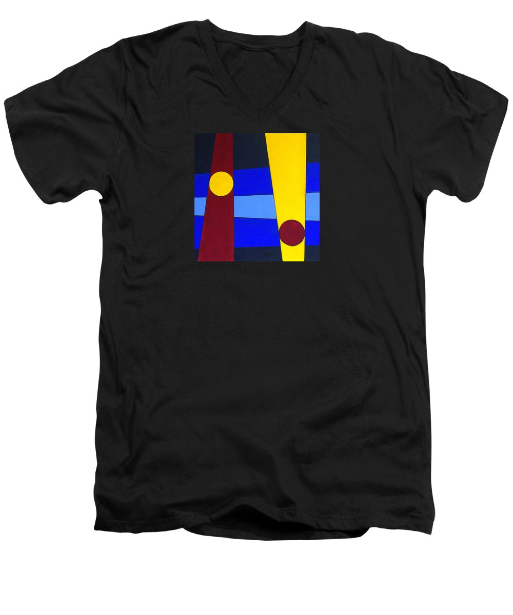 Abstract Men's V-Neck T-Shirt featuring the painting Circles Lines Color by J R Seymour