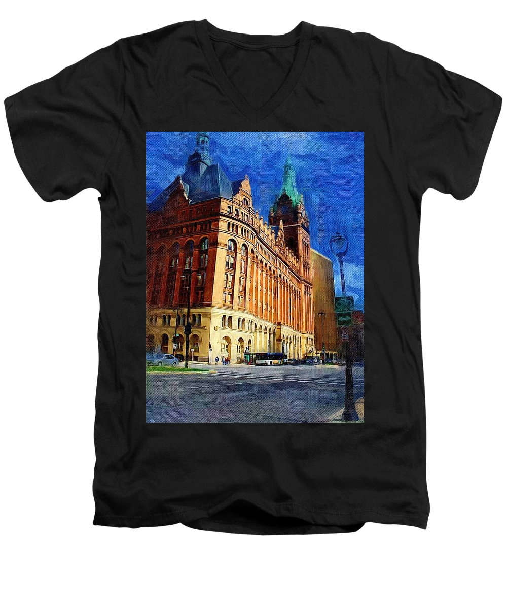 Architecture Men's V-Neck T-Shirt featuring the digital art City Hall And Lamp Post by Anita Burgermeister
