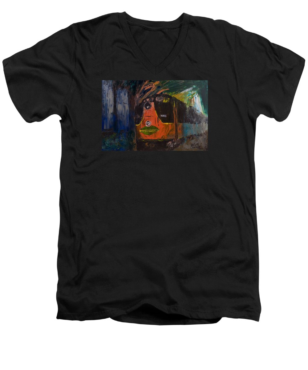 Train Men's V-Neck T-Shirt featuring the painting City Of New Orleans by David McGhee