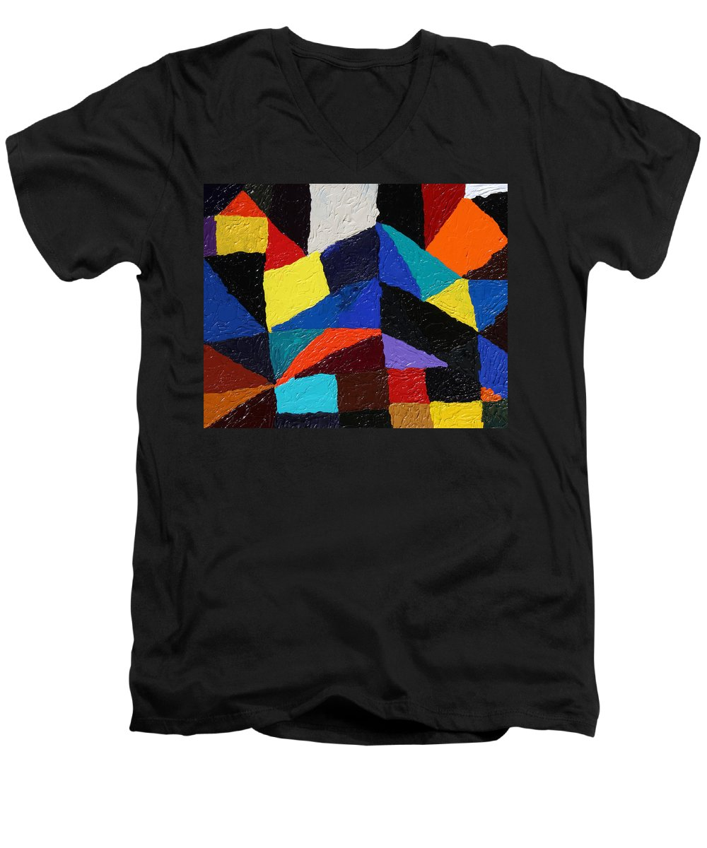Fusionart Men's V-Neck T-Shirt featuring the painting Cityscape by Ralph White
