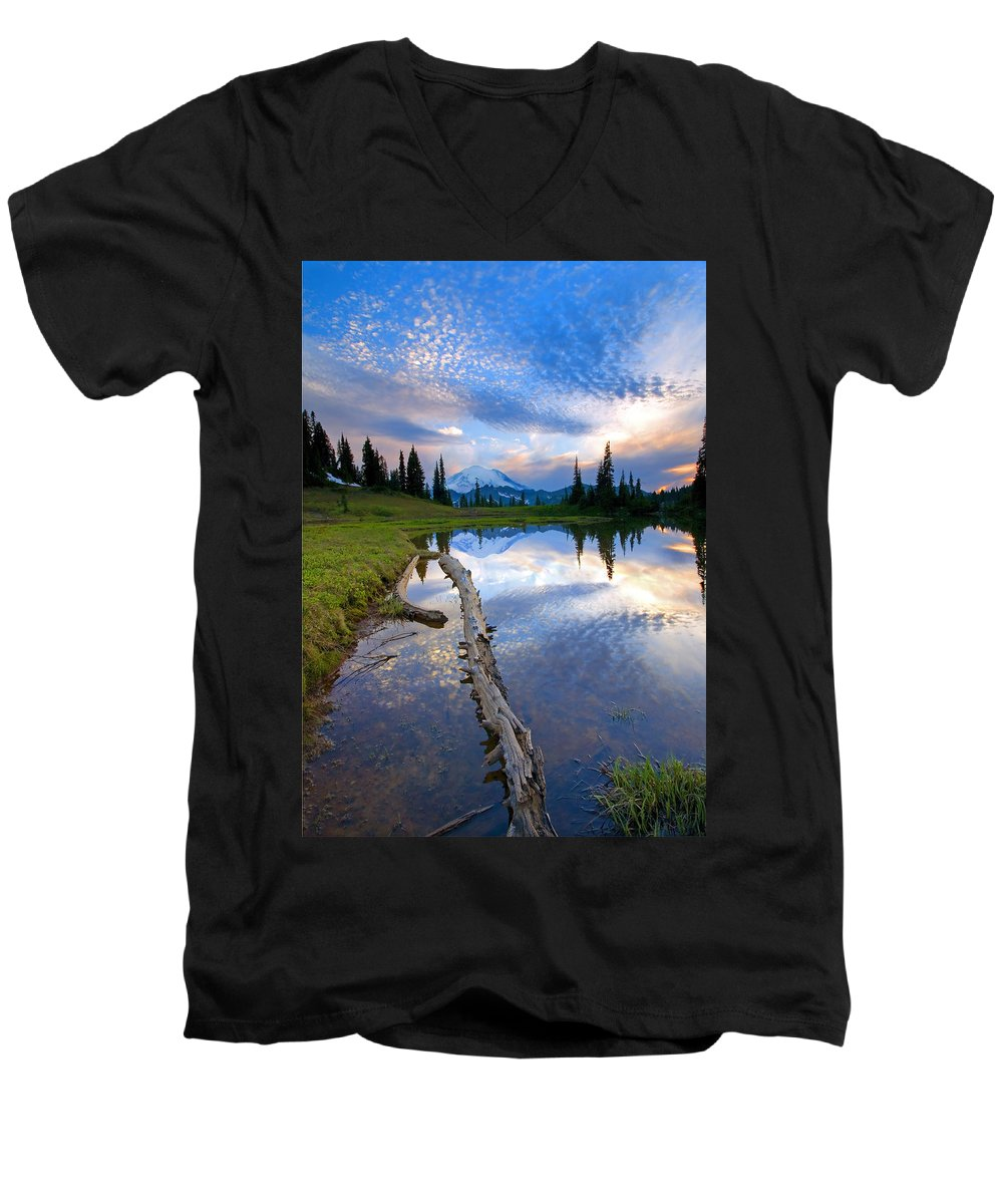 Landscape Men's V-Neck T-Shirt featuring the photograph Cloud Explosion by Mike Dawson