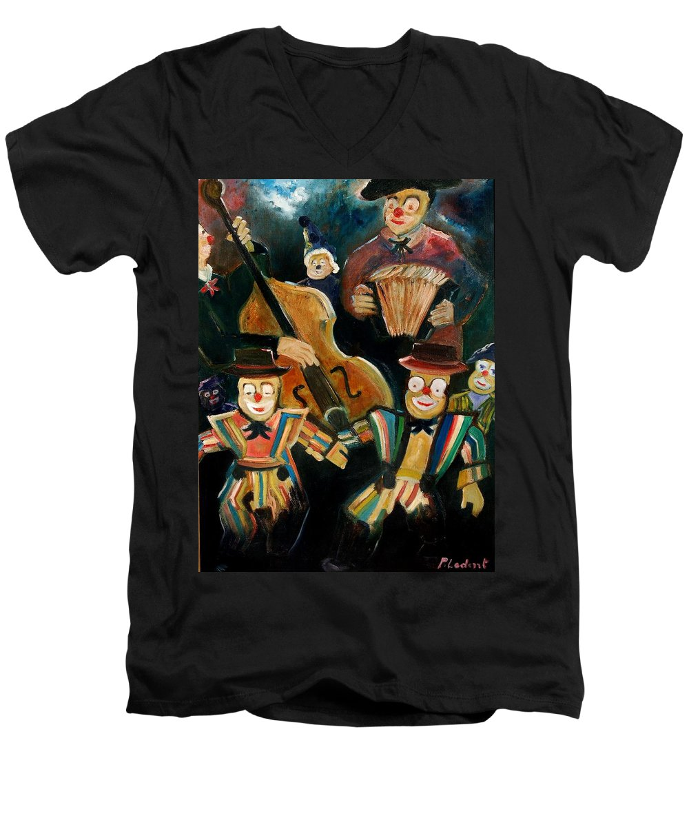 Clowns Circus Men's V-Neck T-Shirt featuring the print Clowns by Pol Ledent
