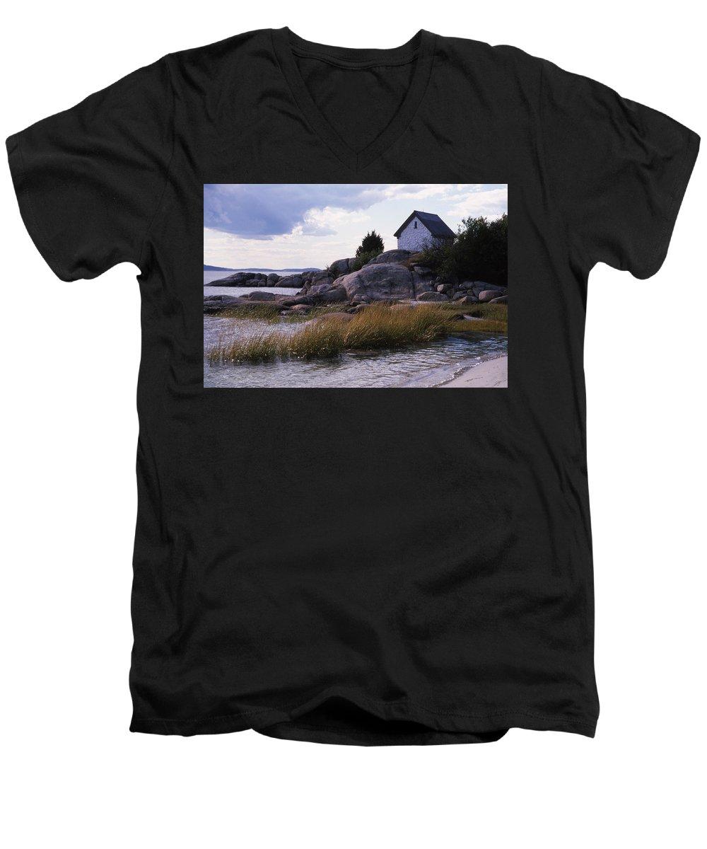 Landscape Beach Storm Men's V-Neck T-Shirt featuring the photograph Cnrf0909 by Henry Butz