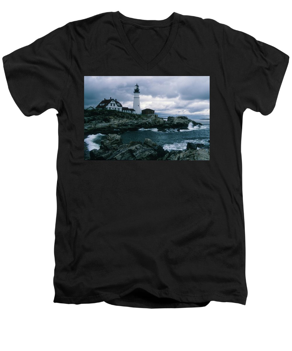 Landscape New England Lighthouse Nautical Storm Coast Men's V-Neck T-Shirt featuring the photograph Cnrg0601 by Henry Butz