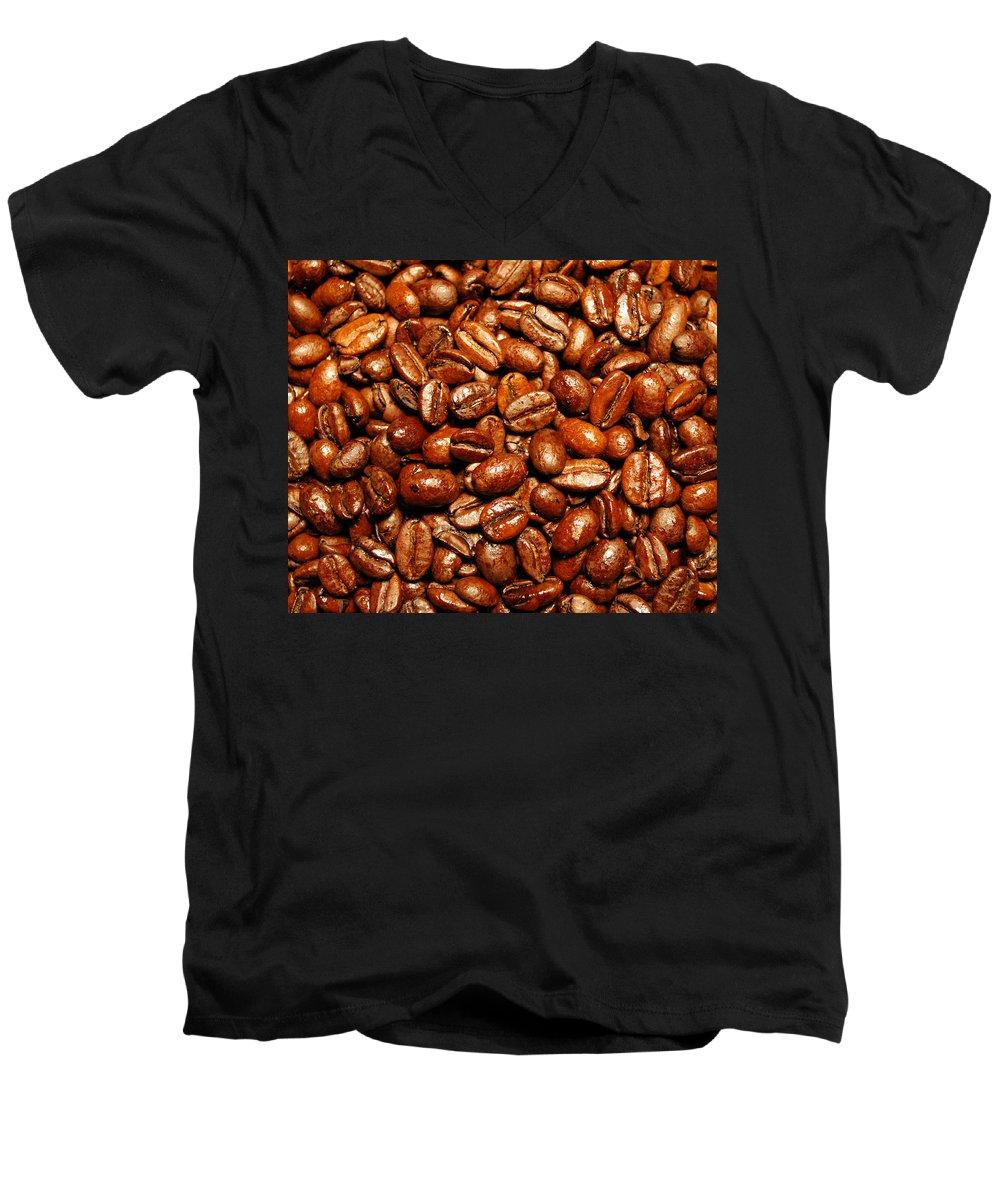 Coffee Men's V-Neck T-Shirt featuring the photograph Coffee Beans by Nancy Mueller