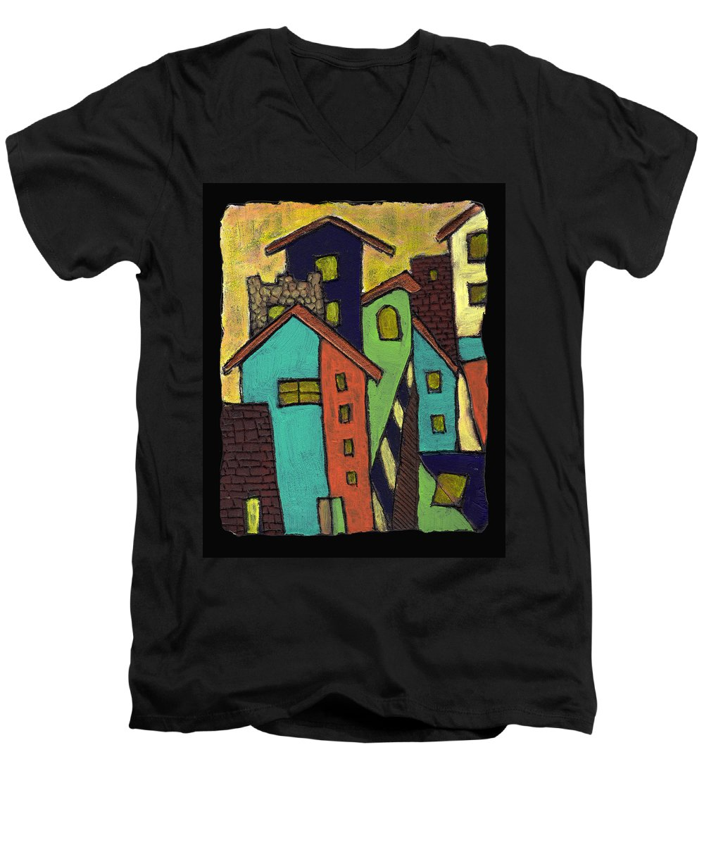City Men's V-Neck T-Shirt featuring the painting Colorful Neighborhood by Wayne Potrafka