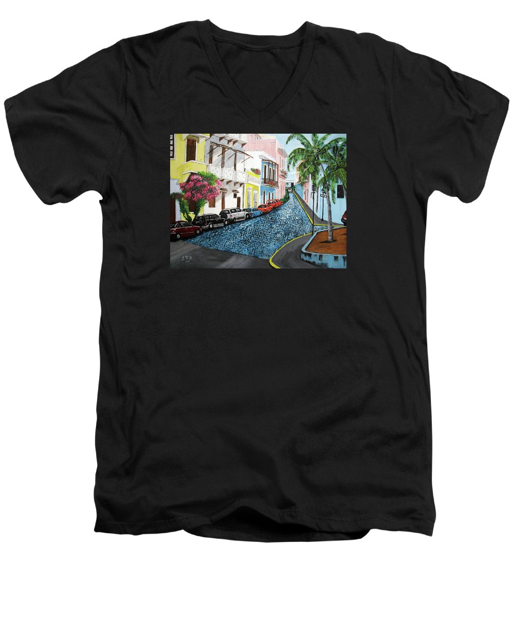 Old San Juan Men's V-Neck T-Shirt featuring the painting Colorful Old San Juan by Luis F Rodriguez