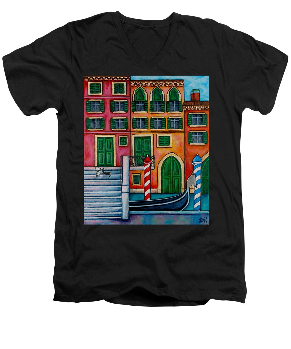 Venice Men's V-Neck T-Shirt featuring the painting Colours Of Venice by Lisa Lorenz