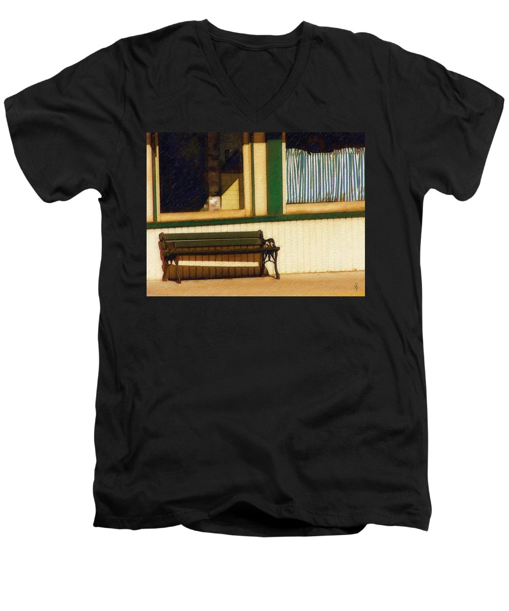 Bench Men's V-Neck T-Shirt featuring the photograph Come Sit A Spell by Sandy MacGowan