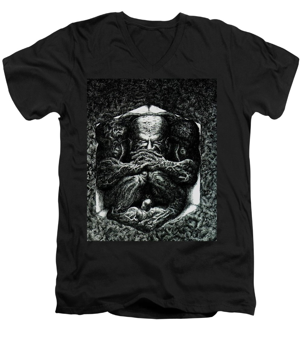 Dark Men's V-Neck T-Shirt featuring the drawing Contemplation by Tobey Anderson